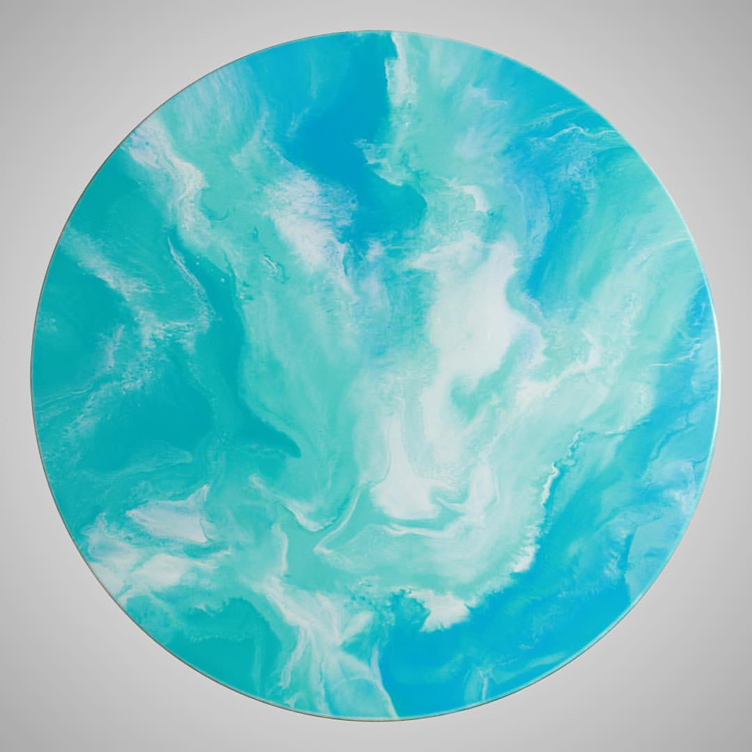 Blue Skies - Resin Art, Round
