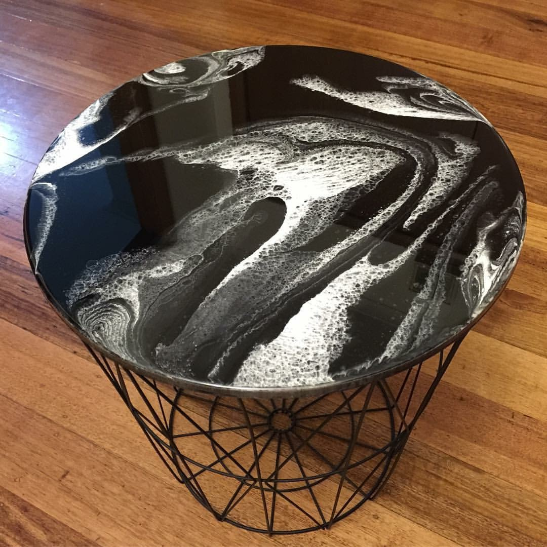 Monochrome Side Table  - Resin Art