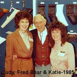 Judy, Fred Bear and Katie in Front of a Product Display in 1985