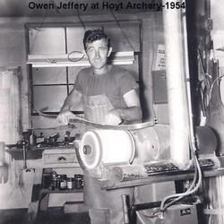 Owen Jeffery at Hoyt Archery in 1954