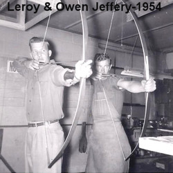 Leroy and Owen Jeffery Drawing Bows in 1954