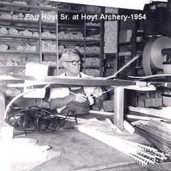 Earl Hoyt Sr. Working on Arrows at Hoyt Archery in 1954