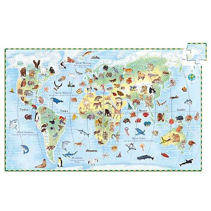 Puzzle Animais do Mundo + Livro - Djeco