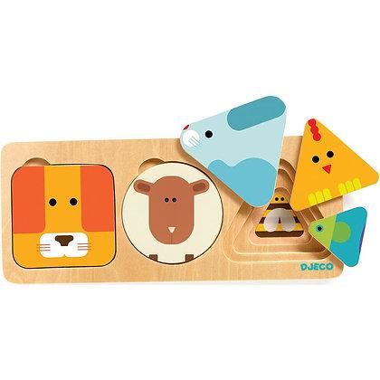 Jogo de Encaixes - Formas e Animais - Djeco