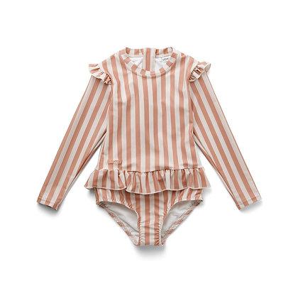Fato de Banho Sillie - Riscas Coral blush/creme de la creme - Liewood