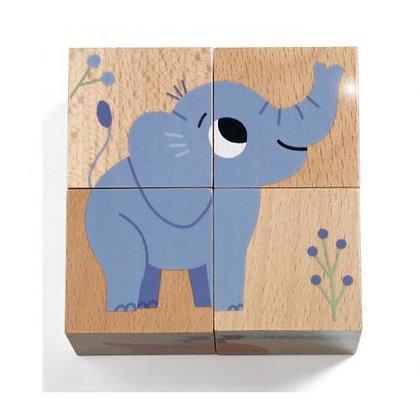 Puzzle cubo de Madeira - Wild & Co -Djeco