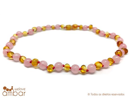 Colar de âmbar mel com quartz rosa - bebé - 32/33cm