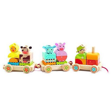 Comboio com animais de Empilhar - Djeco