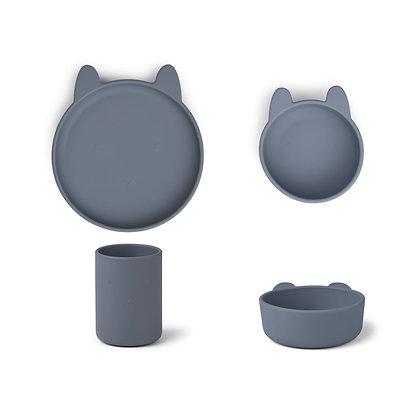 Conjunto Refeição - Cyrus Silicone Tableware 3 pack - Rabbit Blue Wave