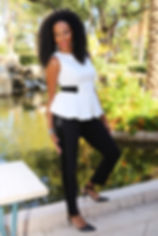 Dawn Angela Mickens, Award-winning Wedding Officiant with Timeless Connection at a beautiful koi pond in Clark County, NV.