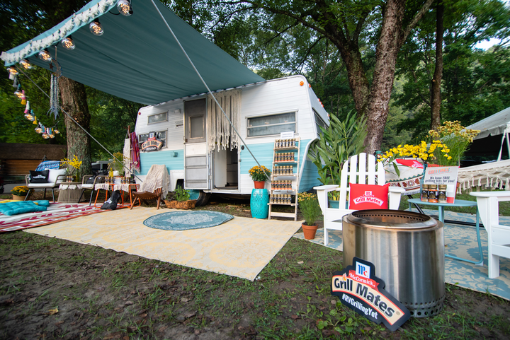 """""""Whether we were camped out in the Great Smokies, the Rocky Mountains, or the Glaciers in Montana, we met adventurers who love to grill and appreciate our dreamy boho flair,"""" Frisch said about the pop-up's design."""