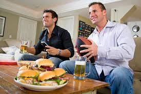 sports fans watching TV