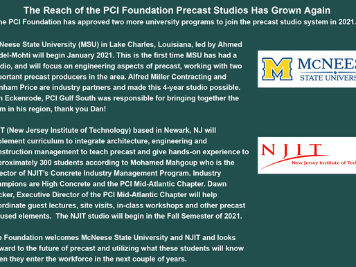Two More Universities Join PCIF's Precast Studio Program. Welcome McNeese State University and NJIT!