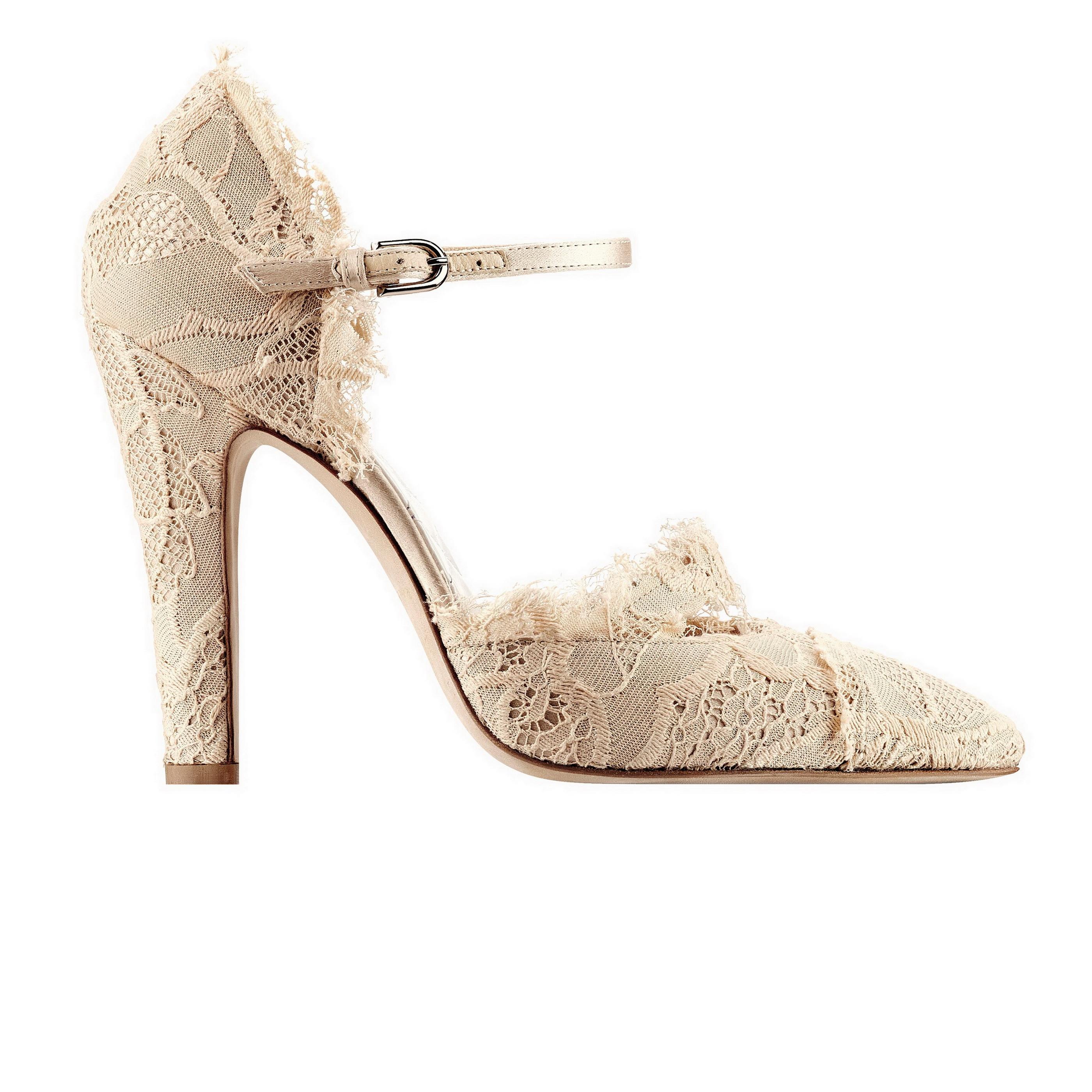 粉色蕾絲繫踝晚宴鞋 售價NT$40,400