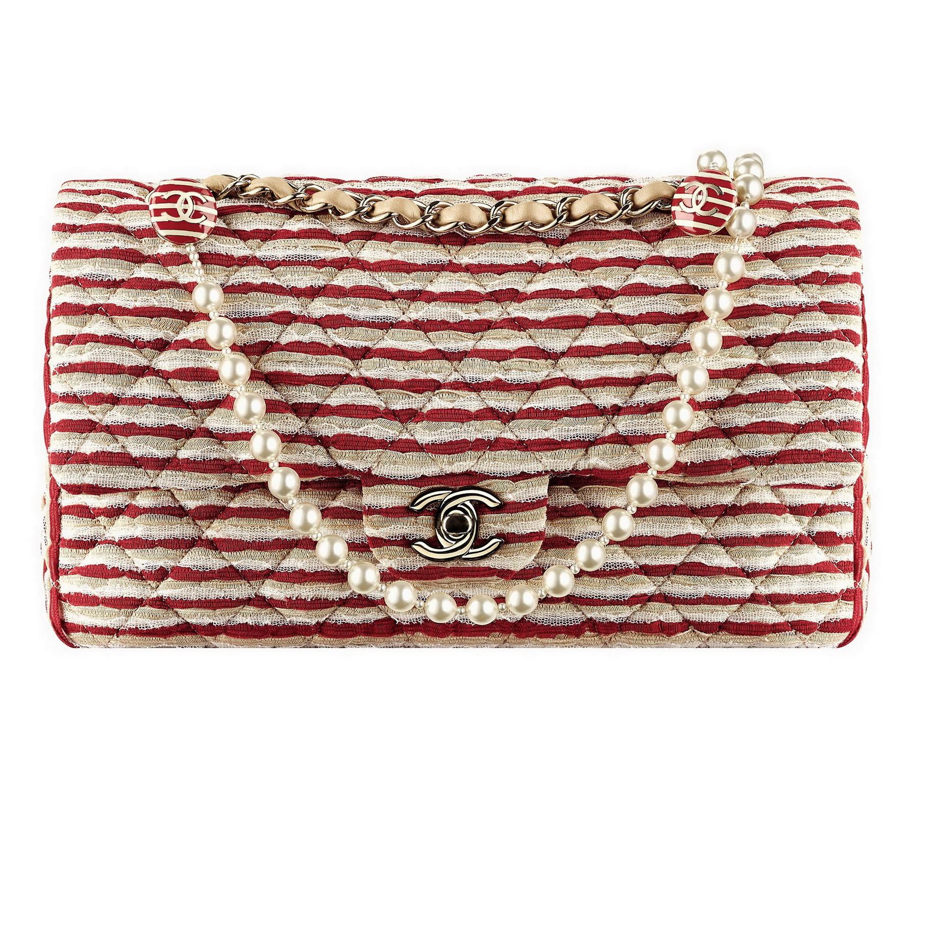紅白米三色蕾絲布條紋飾珍珠鍊帶肩揹包 售價NT$149,200