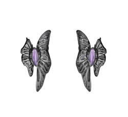 ASKILL 耳環 - 黑色鍍銠純銀,鑲嵌紫晶建議售價22,400