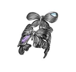 ASKILL 手鐲 - 黑色鍍銠純銀,鑲嵌紫晶與藍色拓帕石建議售價112,400