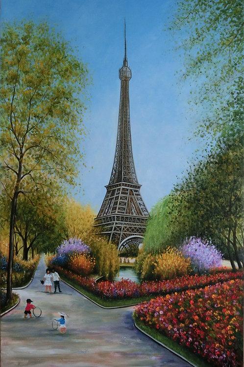 Eiffel in Spring 100cm x 160cm