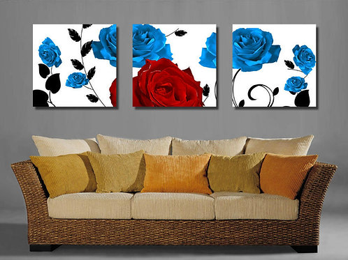Blue and Red Roses 40cm x 40cm