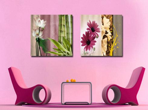 Waterlily and Chrysanthamum-B 50cm x 50cm