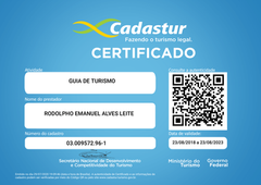 CERTIFICADO CADASTUR AMAZON DESTINATIONS GUIA DE TURISMO