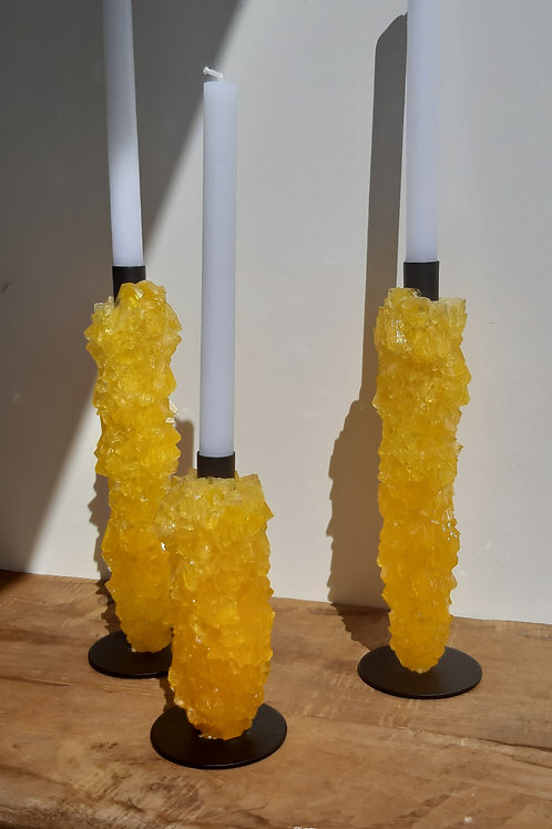 Crystal candle holders set 3 - Yellow