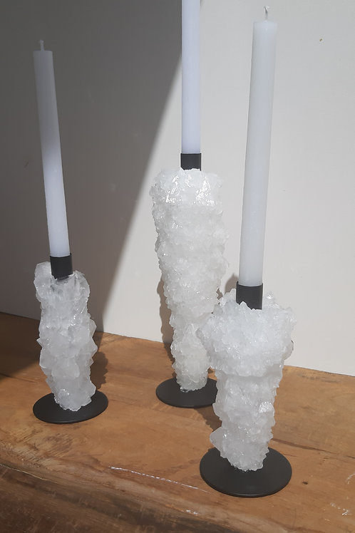 Crystal candle holders set 6 - White