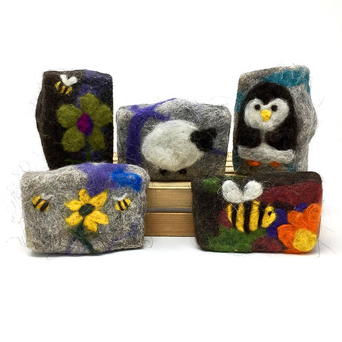 Organic Felted Soap - with design