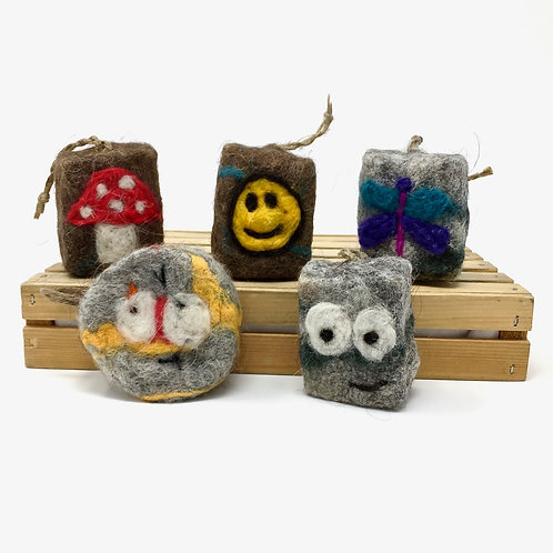 Organic Felted Soap Ornaments