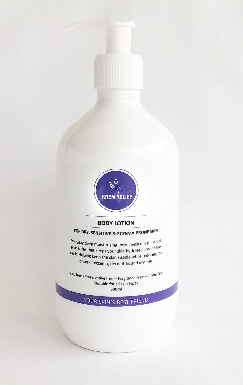 bottle of Krem Relief Body Lotion on white background