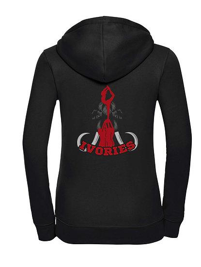 Ivories Cheerleading . Ladies HoodyZipper / black