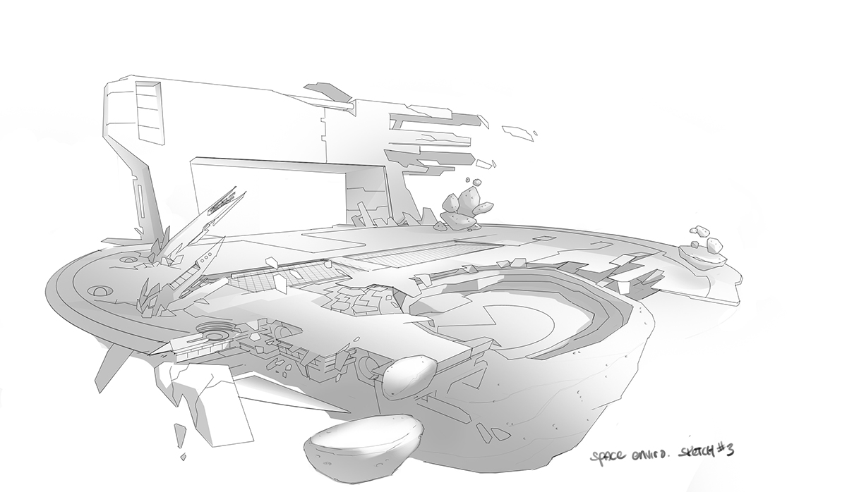 Pacman space environment sketch