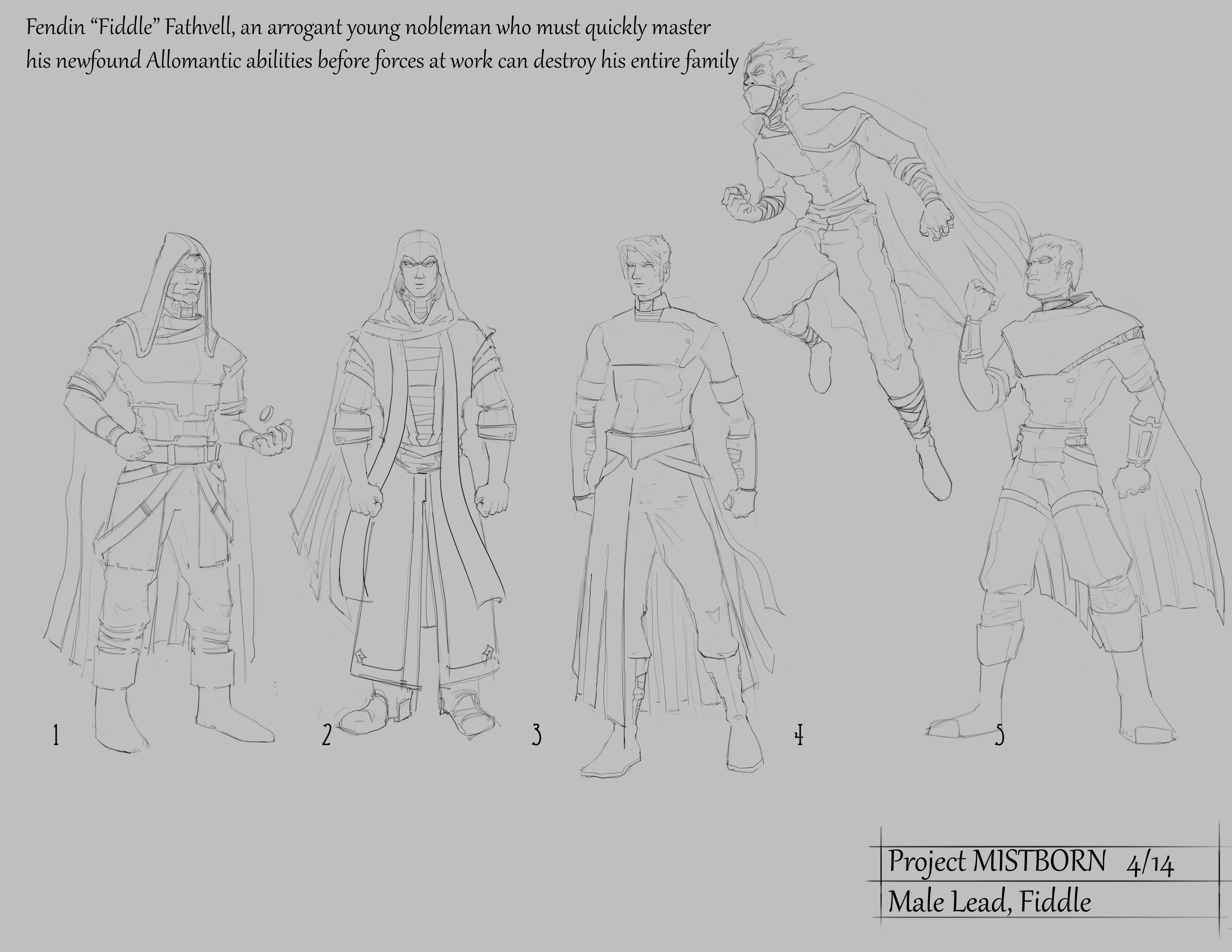 Mistborn main character sketchs
