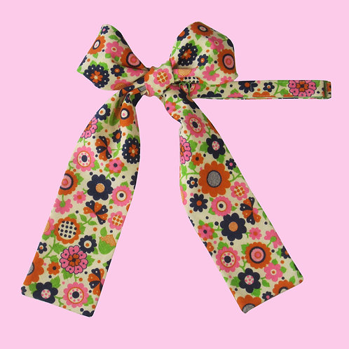 Multi Color Floral Ladies Pussy Bow Tie