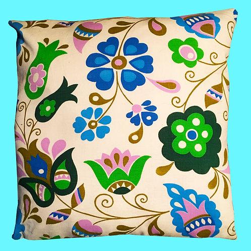 Vintage 70's Floral Cotton Pillow Cushion