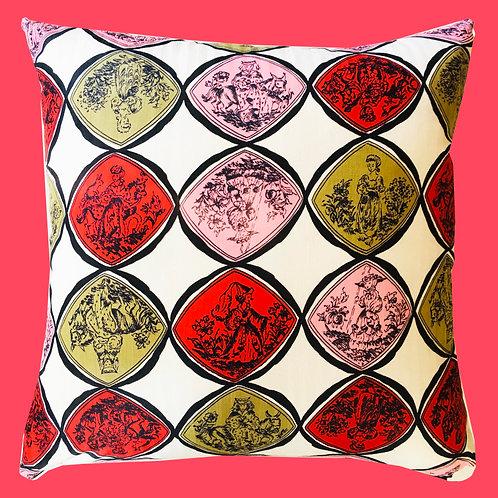 Vintage Silk and Velvet Ladies and Tea Pillow Cushion