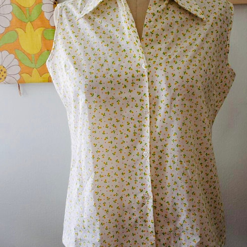 Vintage 1970's Yellow Flower Sleeveless Top