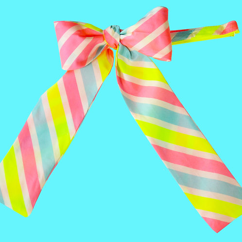 Neon Striped Ladies Pussy Bow Tie