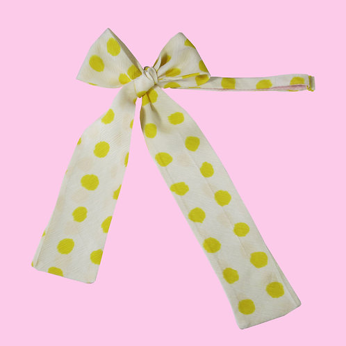 Yellow Polka Dots Ladies Pussy Bow Tie