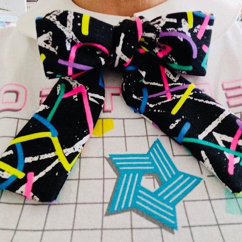 80's Geometric Neon Pussy bow Ladies Bow Tie