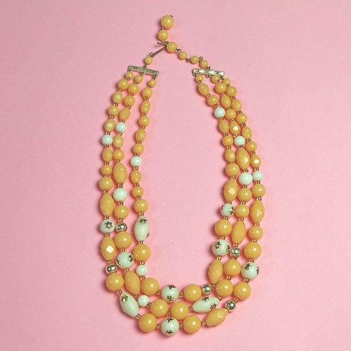 Vintage Yellow and Cream Bead Necklace with Tiny Gold Stars