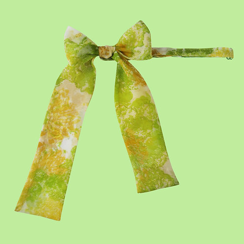 Green and Yellow Floral Ladies Pussy Bow Tie