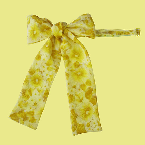 Yellow and Gold Floral Ladies Pussy Bow Tie