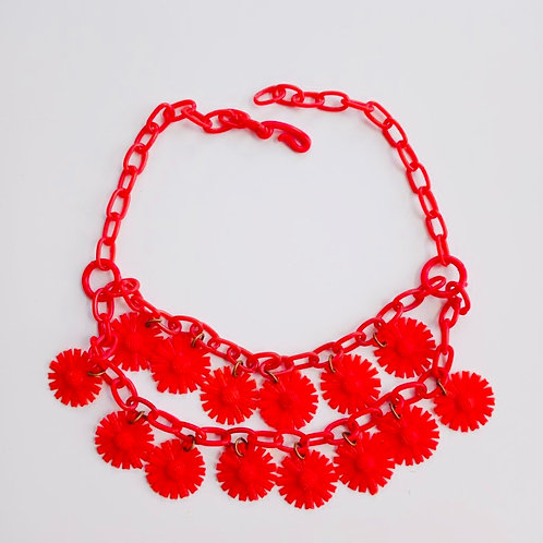 Vintage 1950's Red Plastic Daisy Flower Necklace
