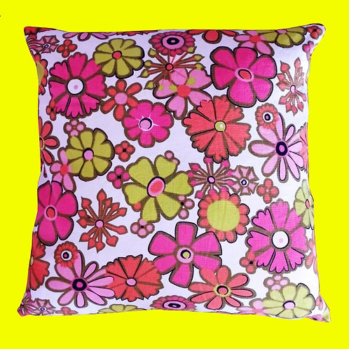 Vintage Floral Cotton Neon Pink and Yellow Pillow Cushion