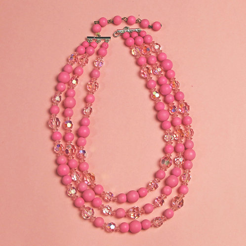 Vintage Bright Pink Crystal and Beaded Necklace
