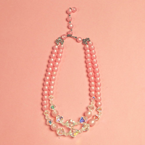 Vintage Baby Pink Crystal and Beaded Necklace