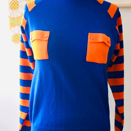 Vintage 1970's Blue and Orange Sweater