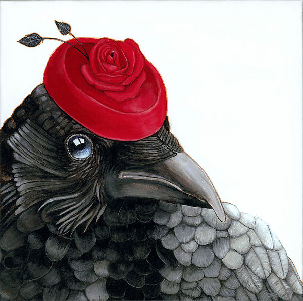 crow with rose hat