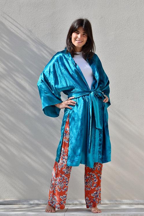 Kimono lungo turchese